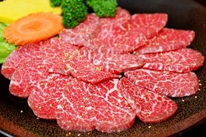 Premium Raw Japanese Kobe Beef on Plate